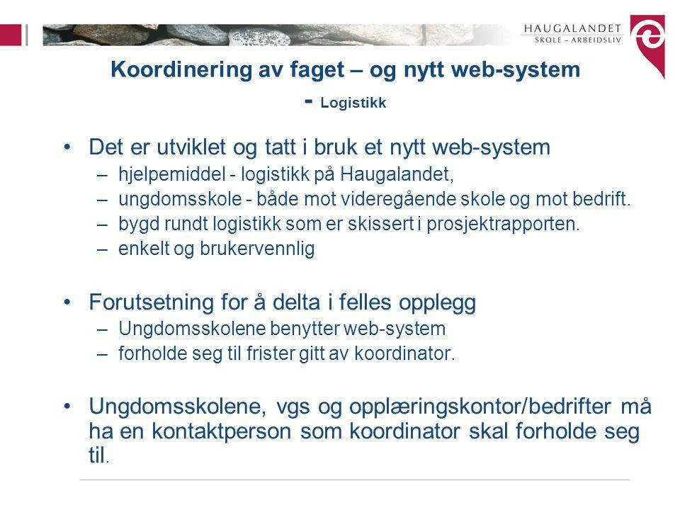 Koordinering av faget – og nytt web-system - Logistikk •Det er utviklet og tatt i bruk et nytt web-system –hjelpemiddel - logistikk på Haugalandet, –u