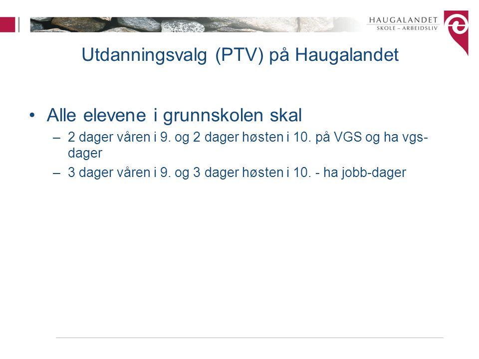 Utdanningsvalg (PTV) på Haugalandet •Alle elevene i grunnskolen skal –2 dager våren i 9. og 2 dager høsten i 10. på VGS og ha vgs- dager –3 dager våre