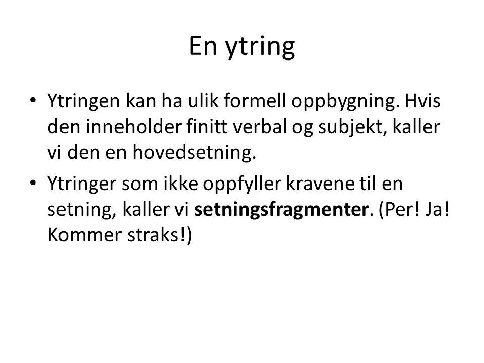 Setningsfragmenter • - ytringer som ikke oppfyller kravene til en setning.
