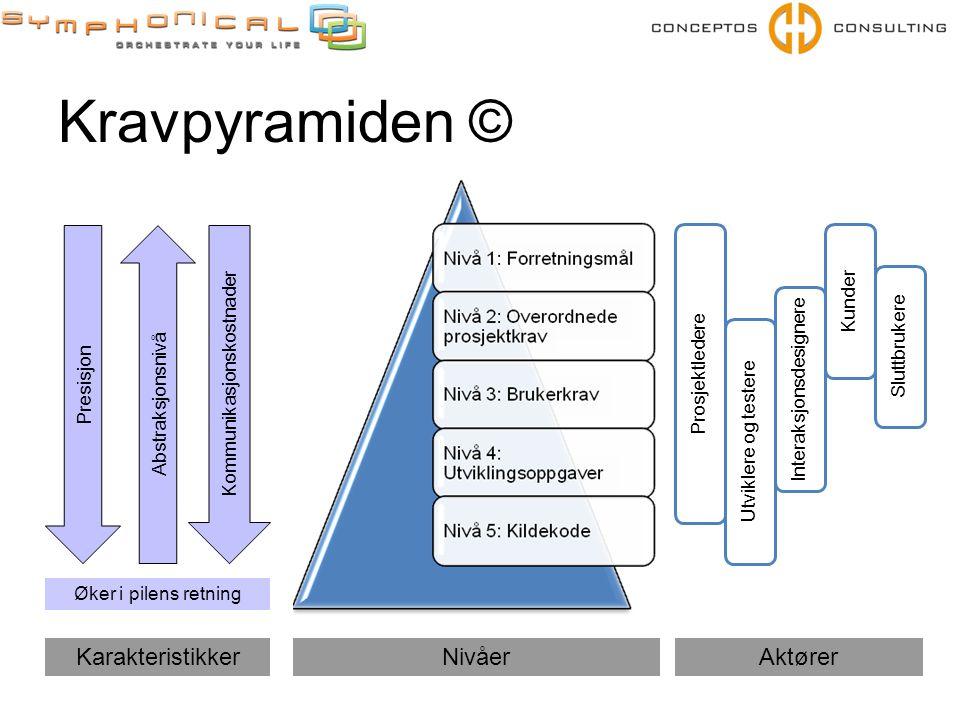 Kravpyramiden © Prosjektledere Utviklere og testere Kunder Sluttbrukere Interaksjonsdesignere NivåerAktørerKarakteristikker Presisjon Kommunikasjonskostnader Abstraksjonsnivå Øker i pilens retning
