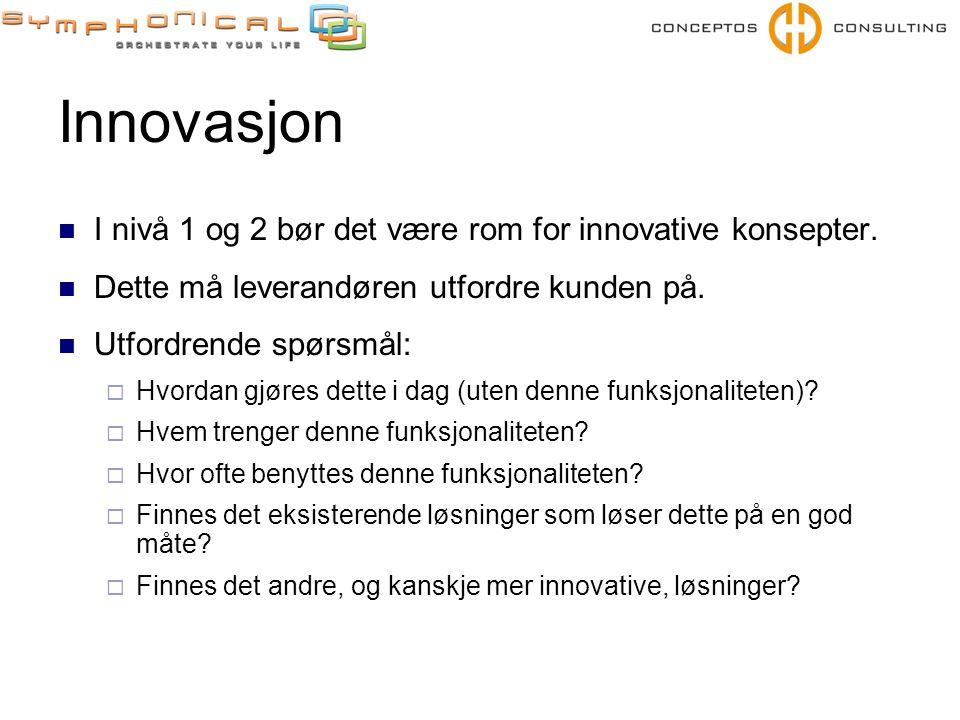 Innovasjon  I nivå 1 og 2 bør det være rom for innovative konsepter.  Dette må leverandøren utfordre kunden på.  Utfordrende spørsmål:  Hvordan gj