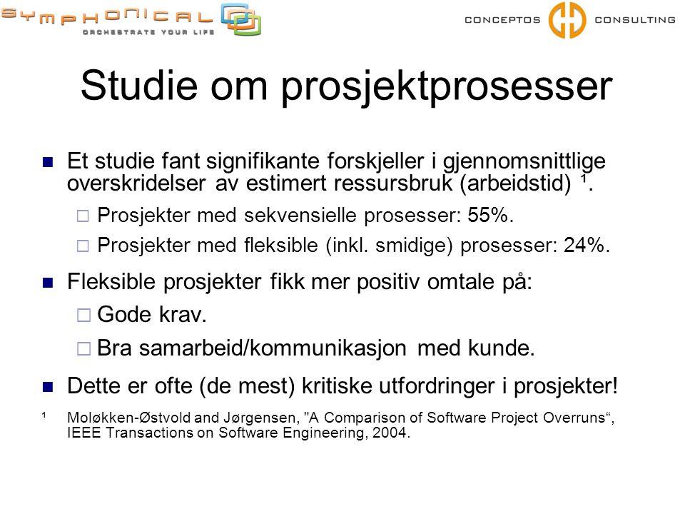 Studie om prosjektprosesser  Et studie fant signifikante forskjeller i gjennomsnittlige overskridelser av estimert ressursbruk (arbeidstid) ¹.
