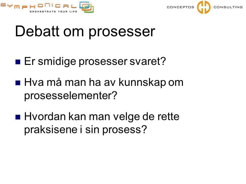 Debatt om prosesser  Er smidige prosesser svaret?  Hva må man ha av kunnskap om prosesselementer?  Hvordan kan man velge de rette praksisene i sin