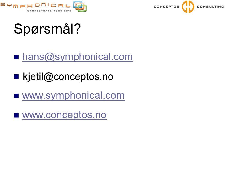 Spørsmål?  hans@symphonical.com hans@symphonical.com   www.symphonical.com www.symphonical.com  www.conceptos.no www.conceptos.no