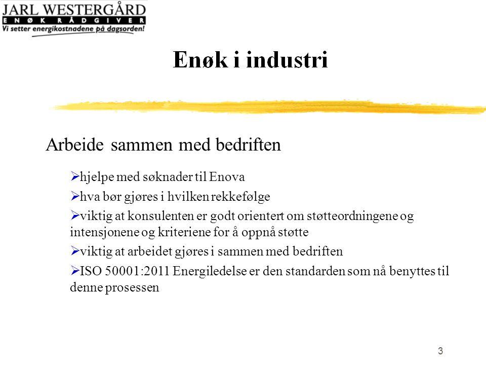3 Arbeide sammen med bedriften  hjelpe med søknader til Enova  hva bør gjøres i hvilken rekkefølge  viktig at konsulenten er godt orientert om støtteordningene og intensjonene og kriteriene for å oppnå støtte  viktig at arbeidet gjøres i sammen med bedriften  ISO 50001:2011 Energiledelse er den standarden som nå benyttes til denne prosessen