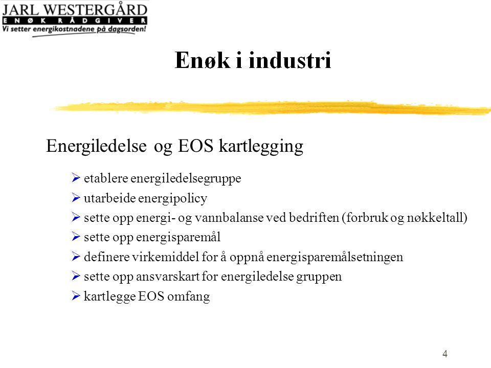 4 Energiledelse og EOS kartlegging  etablere energiledelsegruppe  utarbeide energipolicy  sette opp energi- og vannbalanse ved bedriften (forbruk og nøkkeltall)  sette opp energisparemål  definere virkemiddel for å oppnå energisparemålsetningen  sette opp ansvarskart for energiledelse gruppen  kartlegge EOS omfang