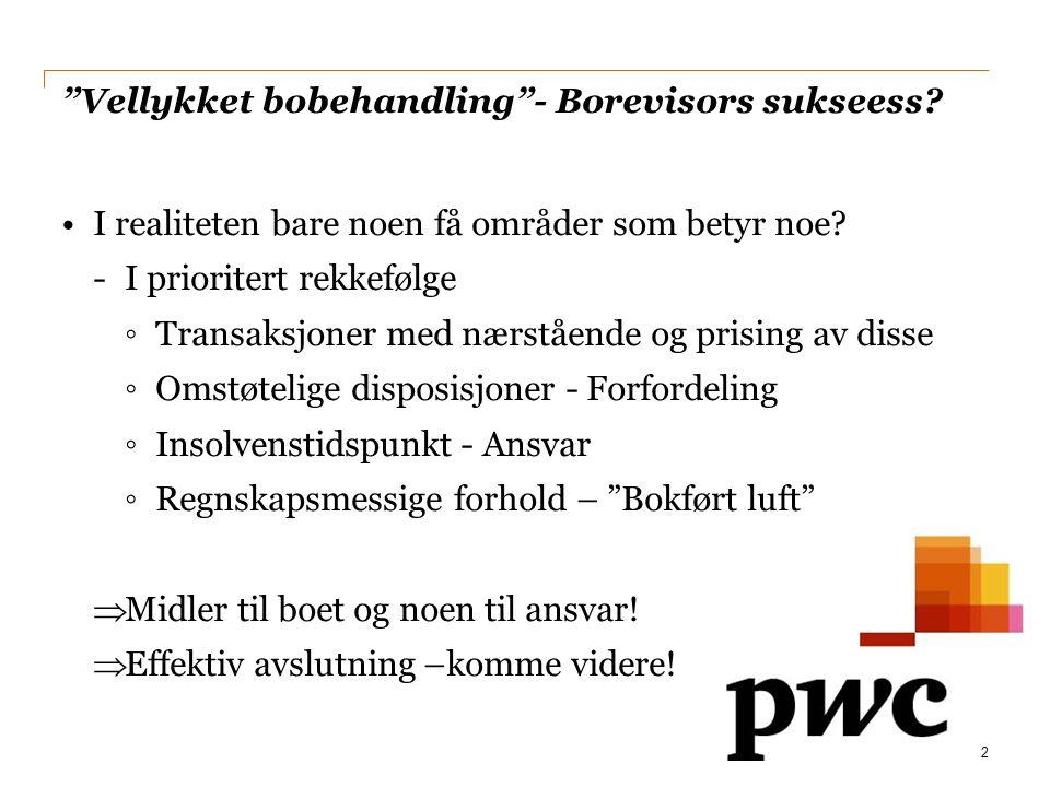 Vellykket bobehandling - Borevisors sukseess.•I realiteten bare noen få områder som betyr noe.