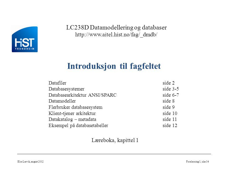 LC238D Datamodellering og databaser http://www.aitel.hist.no/fag/_dmdb/ Introduksjon til fagfeltet Else Lervik, august 2012Forelesning 1, uke 34 Dataf