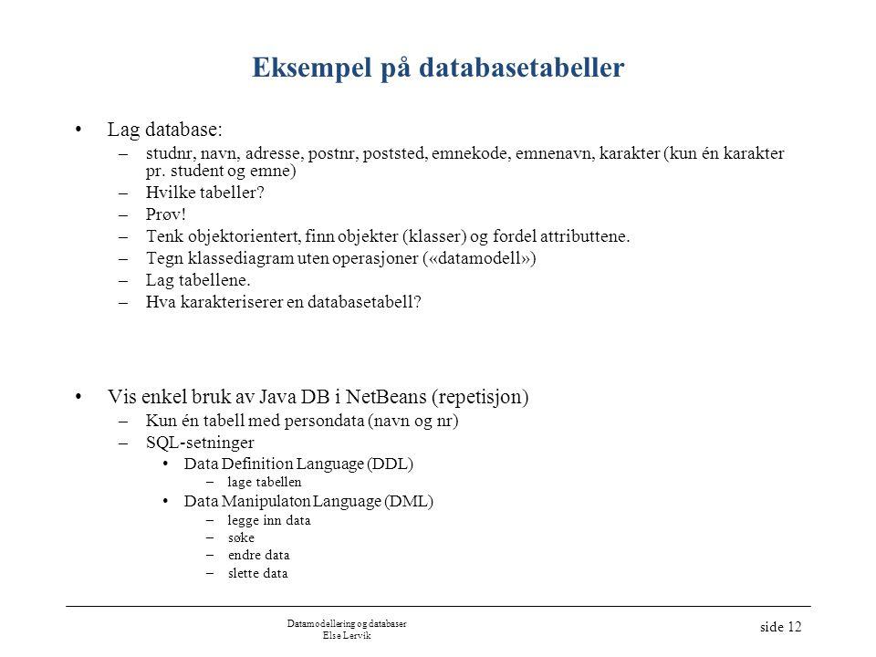 Datamodellering og databaser Else Lervik side 12 Eksempel på databasetabeller •Lag database: –studnr, navn, adresse, postnr, poststed, emnekode, emnen