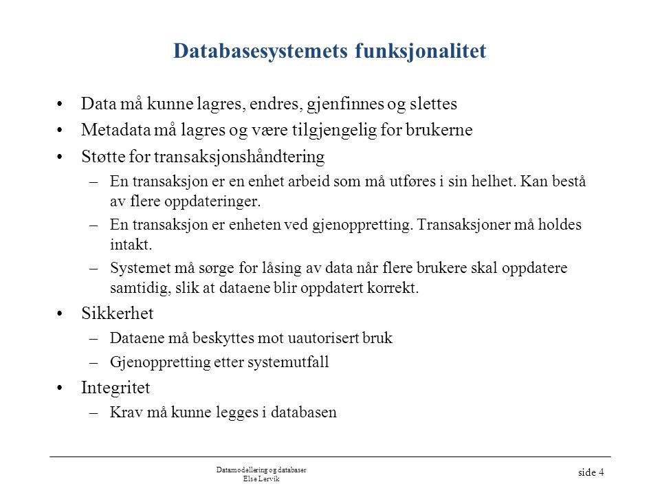 Datamodellering og databaser Else Lervik side 4 Databasesystemets funksjonalitet •Data må kunne lagres, endres, gjenfinnes og slettes •Metadata må lag