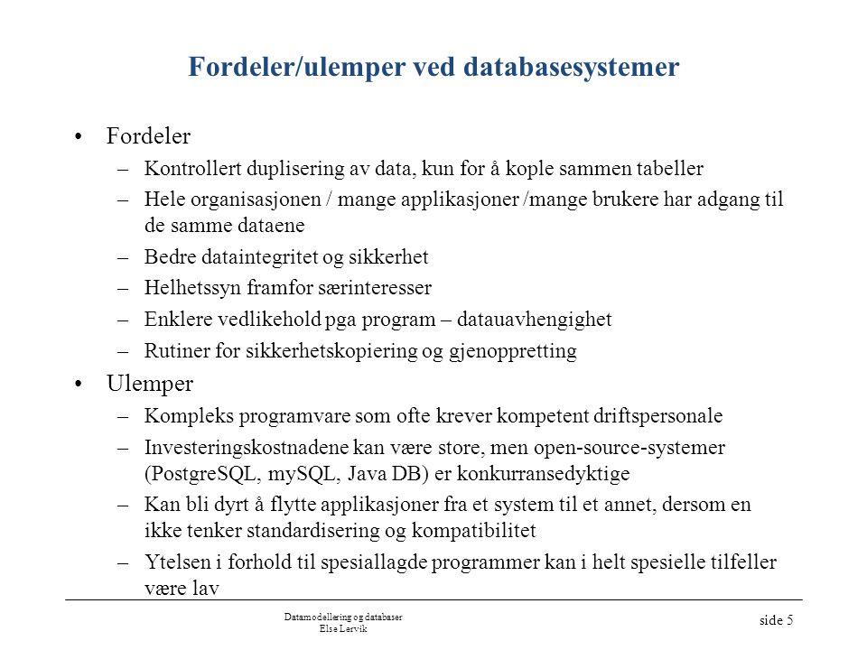 Datamodellering og databaser Else Lervik side 5 Fordeler/ulemper ved databasesystemer •Fordeler –Kontrollert duplisering av data, kun for å kople samm