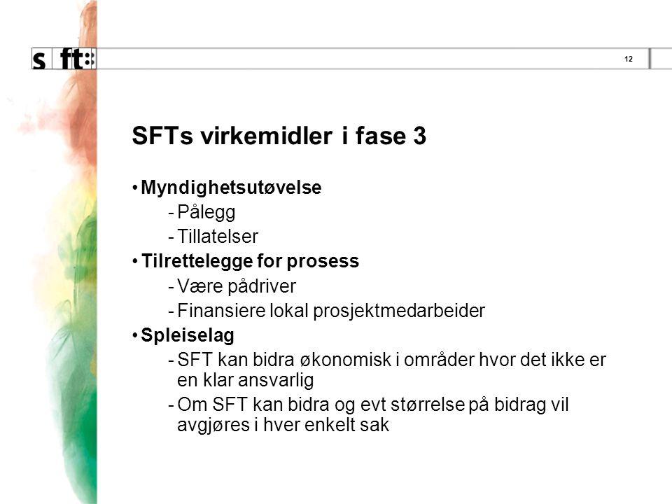 12 SFTs virkemidler i fase 3 •Myndighetsutøvelse -Pålegg -Tillatelser •Tilrettelegge for prosess -Være pådriver -Finansiere lokal prosjektmedarbeider •Spleiselag -SFT kan bidra økonomisk i områder hvor det ikke er en klar ansvarlig -Om SFT kan bidra og evt størrelse på bidrag vil avgjøres i hver enkelt sak