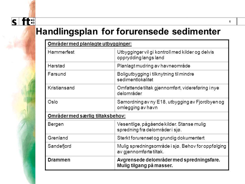 6 Handlingsplan for forurensede sedimenter De 17 prioriterte områdene: Områder med planlagte utbygginger: HammerfestUtbygginger vil gi kontroll med kilder og delvis opprydding langs land HarstadPlanlagt mudring av havneområde FarsundBoligutbygging i tilknytning til mindre sedimentlokalitet KristiansandOmfattende tiltak gjennomført, videreføring i nye delområder OsloSamordning av ny E18, utbygging av Fjordbyen og omlegging av havn Områder med særlig tiltaksbehov: BergenVesentlige, pågående kilder.
