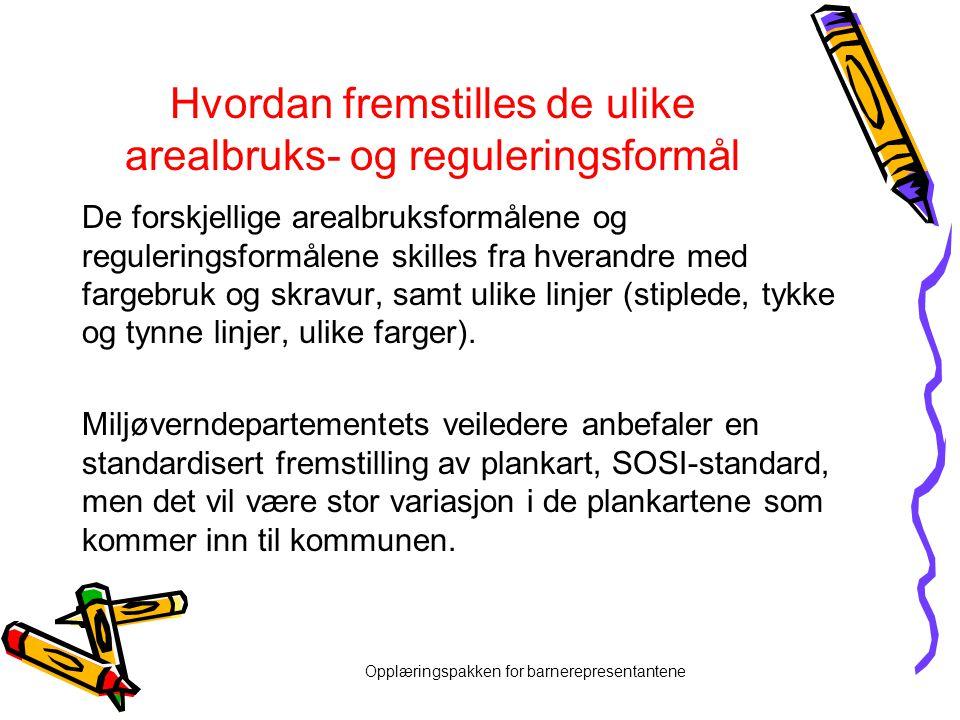 Opplæringspakken for barnerepresentantene Hvordan fremstilles de ulike arealbruks- og reguleringsformål De forskjellige arealbruksformålene og reguler