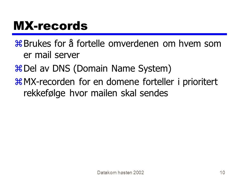 Datakom høsten 200210 MX-records zBrukes for å fortelle omverdenen om hvem som er mail server zDel av DNS (Domain Name System) zMX-recorden for en domene forteller i prioritert rekkefølge hvor mailen skal sendes