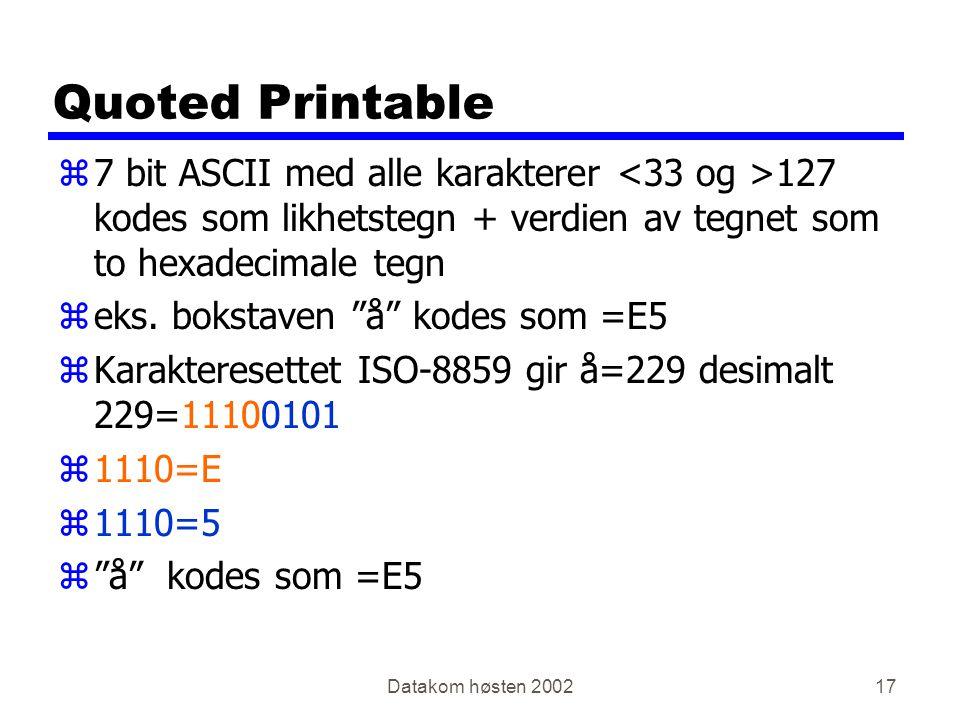 Datakom høsten 200217 Quoted Printable z7 bit ASCII med alle karakterer 127 kodes som likhetstegn + verdien av tegnet som to hexadecimale tegn zeks.