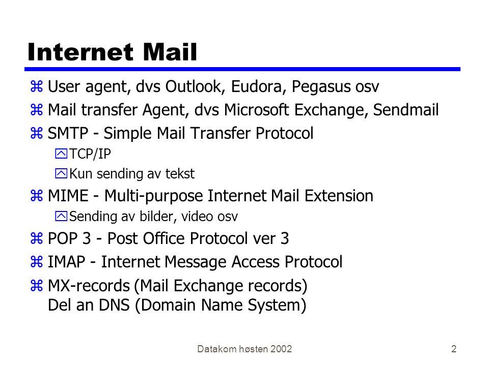 Datakom høsten 200213 Internet Message Access Protocol - IMAP zMail klient zTilsvarende som POP3, men all behandling av mail foregår på mailserveren zPOP3 henter mailen ned til User Agent