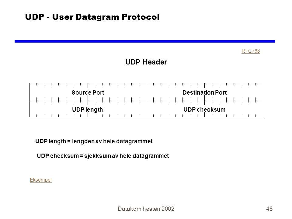 Datakom høsten 200248 UDP - User Datagram Protocol UDP Header Source PortDestination Port RFC768 Eksempel UDP length UDP length = lengden av hele datagrammet UDP checksum UDP checksum = sjekksum av hele datagrammet