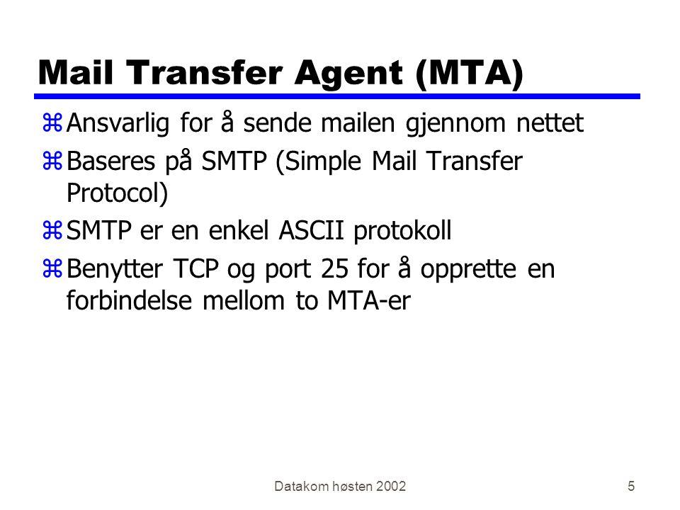 Datakom høsten 20025 Mail Transfer Agent (MTA) zAnsvarlig for å sende mailen gjennom nettet zBaseres på SMTP (Simple Mail Transfer Protocol) zSMTP er en enkel ASCII protokoll zBenytter TCP og port 25 for å opprette en forbindelse mellom to MTA-er