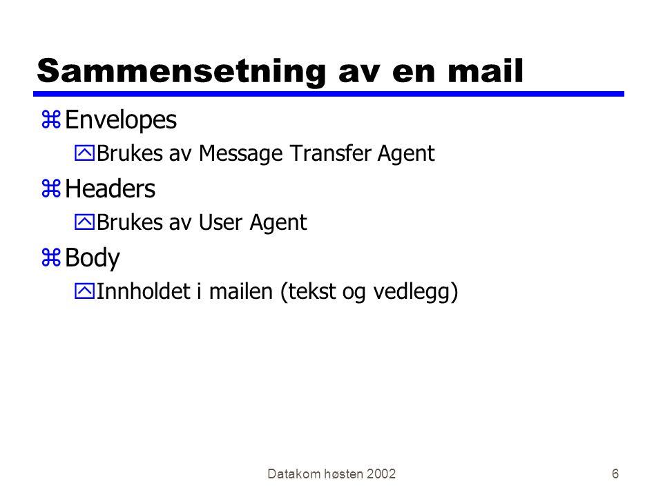 Datakom høsten 20026 Sammensetning av en mail zEnvelopes yBrukes av Message Transfer Agent zHeaders yBrukes av User Agent zBody yInnholdet i mailen (tekst og vedlegg)