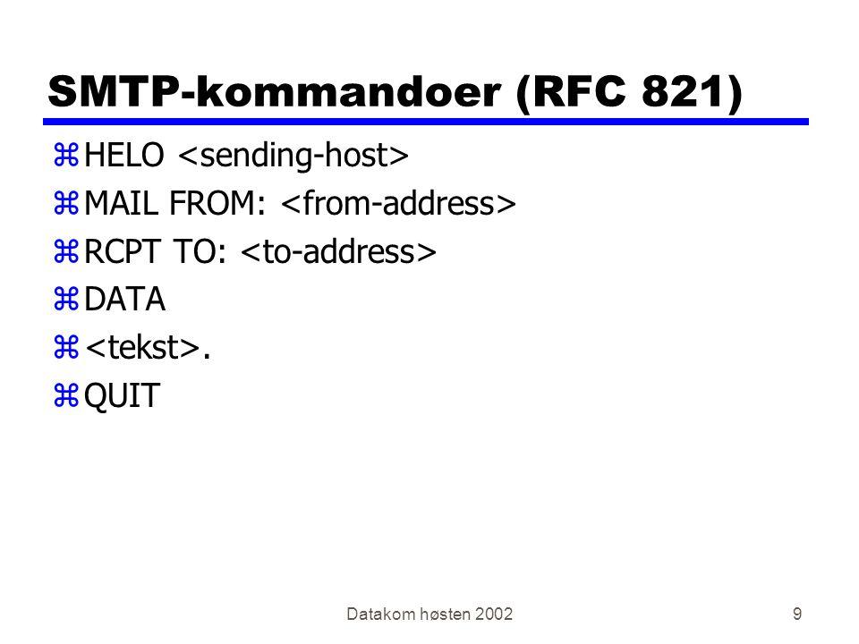 Datakom høsten 200260 ICMP - Internet Control Message Protocol zBrukes for feilmeldinger, rutinginformasjon og test zBenytter IP for å sende pakker (på samme måte som TCP og UDP), men er samtidig en nødvendig del av IP zEksempler: yICMP redirectICMP redirect yICMP echoICMP echo yICMP time exceededICMP time exceeded RFC792