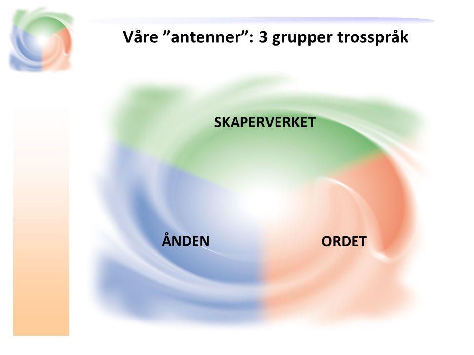 Våre antenner : 3 grupper trosspråk SKAPERVERKET ORDET ÅNDEN