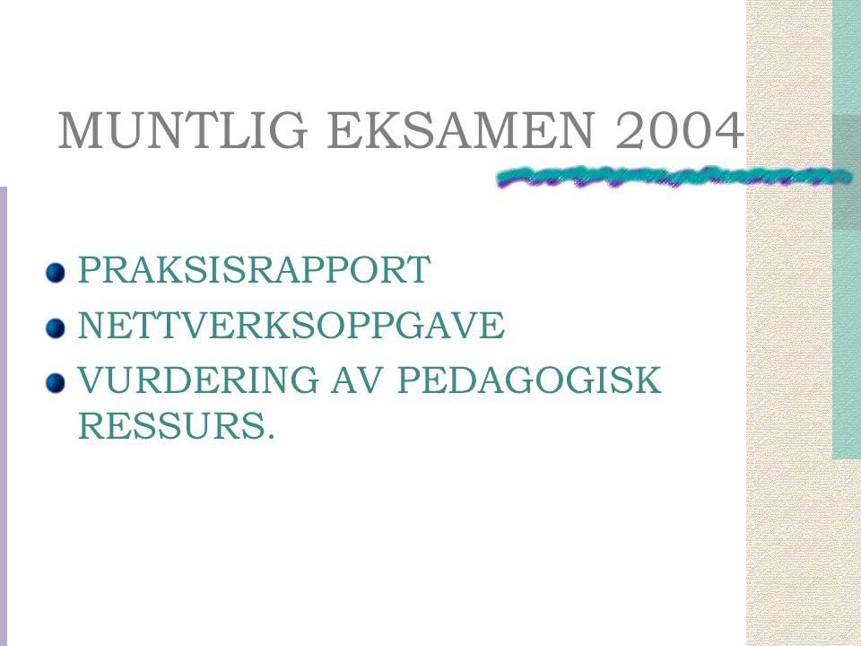 MUNTLIG EKSAMEN 2004 PRAKSISRAPPORT NETTVERKSOPPGAVE VURDERING AV PEDAGOGISK RESSURS.