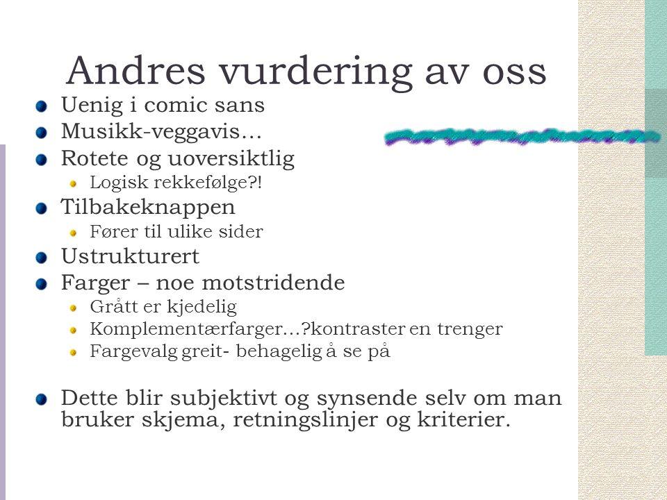 Andres vurdering av oss Uenig i comic sans Musikk-veggavis… Rotete og uoversiktlig Logisk rekkefølge?.