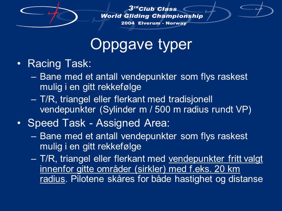 Oppgave typer •Racing Task: –Bane med et antall vendepunkter som flys raskest mulig i en gitt rekkefølge –T/R, triangel eller flerkant med tradisjonell vendepunkter (Sylinder m / 500 m radius rundt VP) •Speed Task - Assigned Area: –Bane med et antall vendepunkter som flys raskest mulig i en gitt rekkefølge –T/R, triangel eller flerkant med vendepunkter fritt valgt innenfor gitte områder (sirkler) med f.eks.
