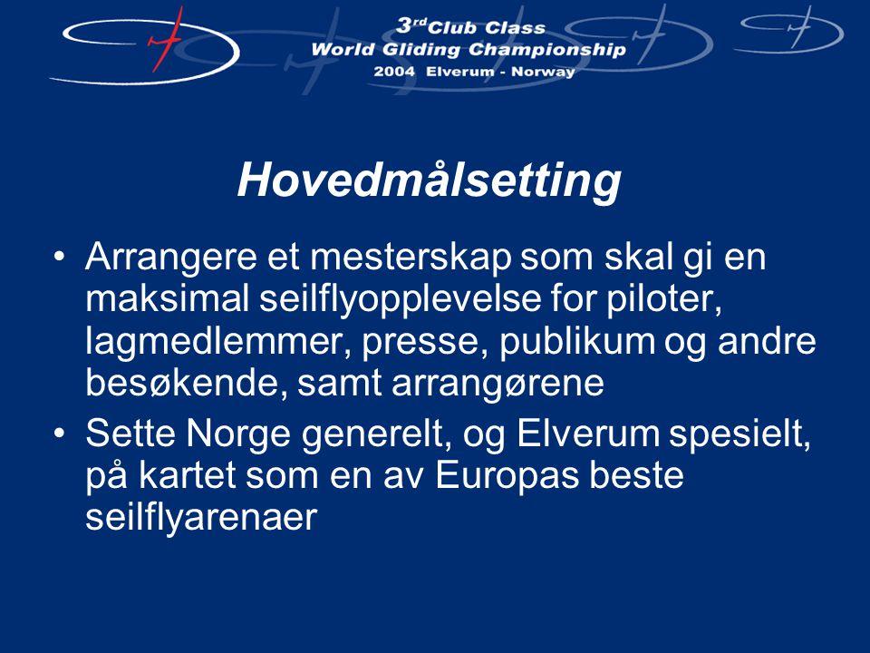 Hovedmålsetting •Arrangere et mesterskap som skal gi en maksimal seilflyopplevelse for piloter, lagmedlemmer, presse, publikum og andre besøkende, samt arrangørene •Sette Norge generelt, og Elverum spesielt, på kartet som en av Europas beste seilflyarenaer