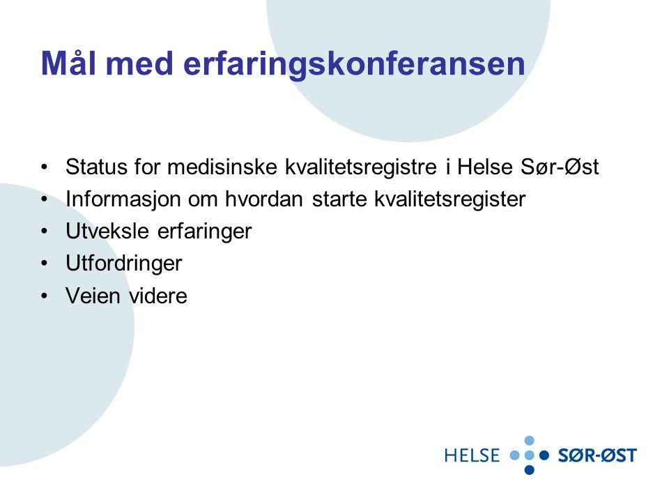 Mål med erfaringskonferansen •Status for medisinske kvalitetsregistre i Helse Sør-Øst •Informasjon om hvordan starte kvalitetsregister •Utveksle erfaringer •Utfordringer •Veien videre