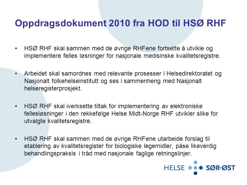 Oppdragsdokument 2010 fra HOD til HSØ RHF •HSØ RHF skal sammen med de øvrige RHFene fortsette å utvikle og implementere felles løsninger for nasjonale medisinske kvalitetsregistre.