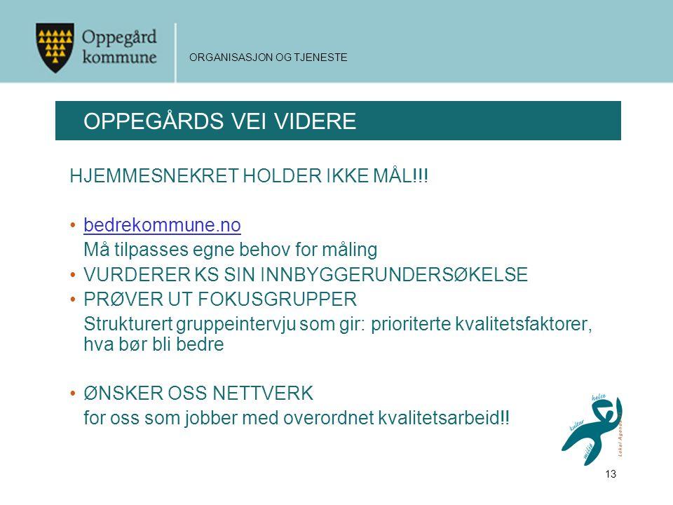 13 ORGANISASJON OG TJENESTE OPPEGÅRDS VEI VIDERE HJEMMESNEKRET HOLDER IKKE MÅL!!.