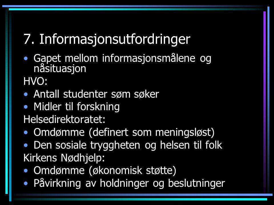 7. Informasjonsutfordringer •Gapet mellom informasjonsmålene og nåsituasjon HVO: •Antall studenter søm søker •Midler til forskning Helsedirektoratet: