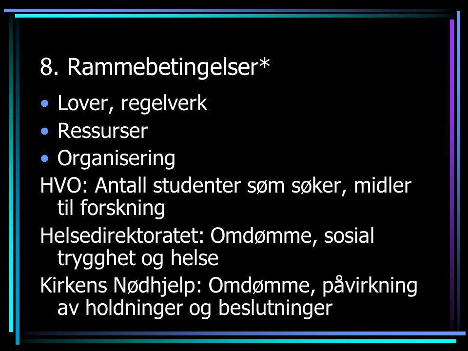 8. Rammebetingelser* •Lover, regelverk •Ressurser •Organisering HVO: Antall studenter søm søker, midler til forskning Helsedirektoratet: Omdømme, sosi