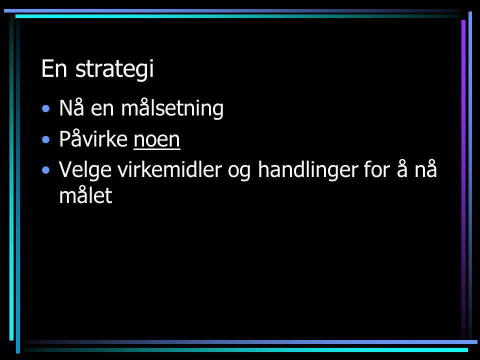 En strategi •Nå en målsetning •Påvirke noen •Velge virkemidler og handlinger for å nå målet
