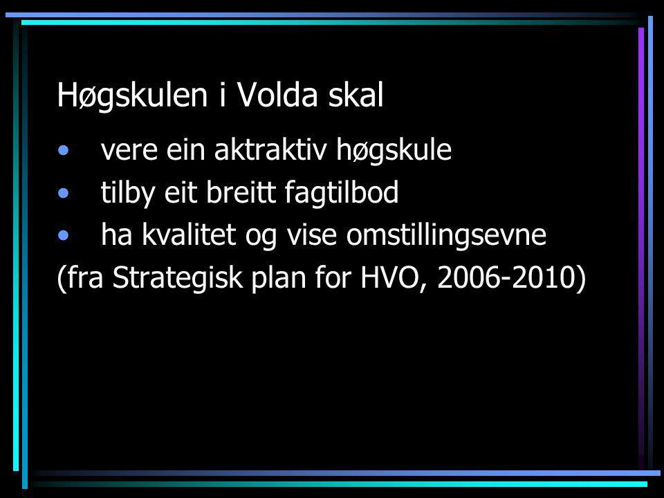 Høgskulen i Volda skal •vere ein aktraktiv høgskule •tilby eit breitt fagtilbod •ha kvalitet og vise omstillingsevne (fra Strategisk plan for HVO, 2006-2010)