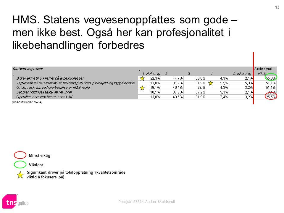 13 Prosjekt 57864 Audun Skeidsvoll HMS. Statens vegvesenoppfattes som gode – men ikke best. Også her kan profesjonalitet i likebehandlingen forbedres