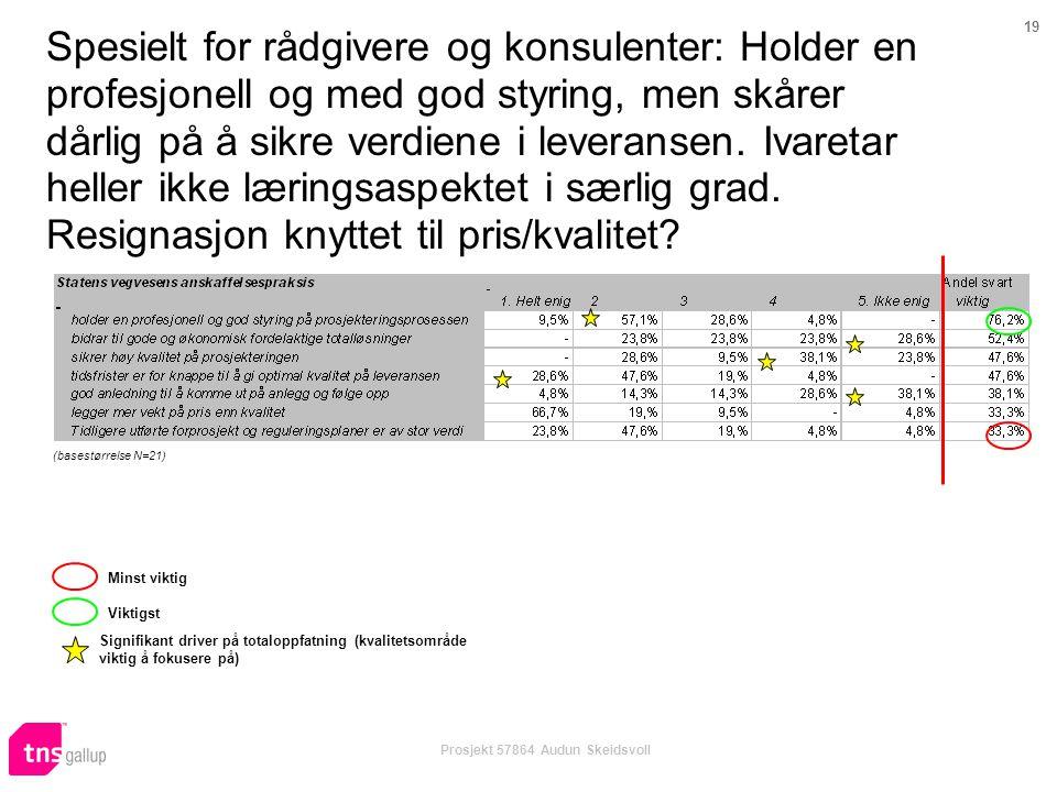 19 Prosjekt 57864 Audun Skeidsvoll Spesielt for rådgivere og konsulenter: Holder en profesjonell og med god styring, men skårer dårlig på å sikre verdiene i leveransen.