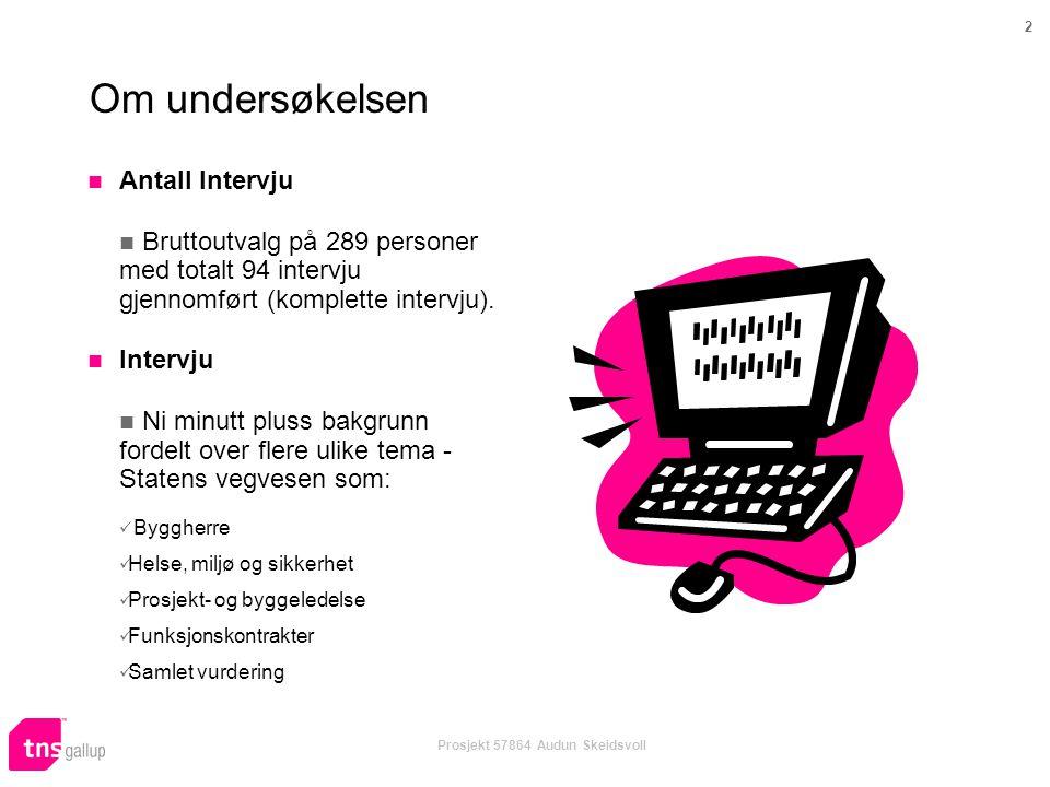 2 Prosjekt 57864 Audun Skeidsvoll Om undersøkelsen  Antall Intervju  Bruttoutvalg på 289 personer med totalt 94 intervju gjennomført (komplette intervju).