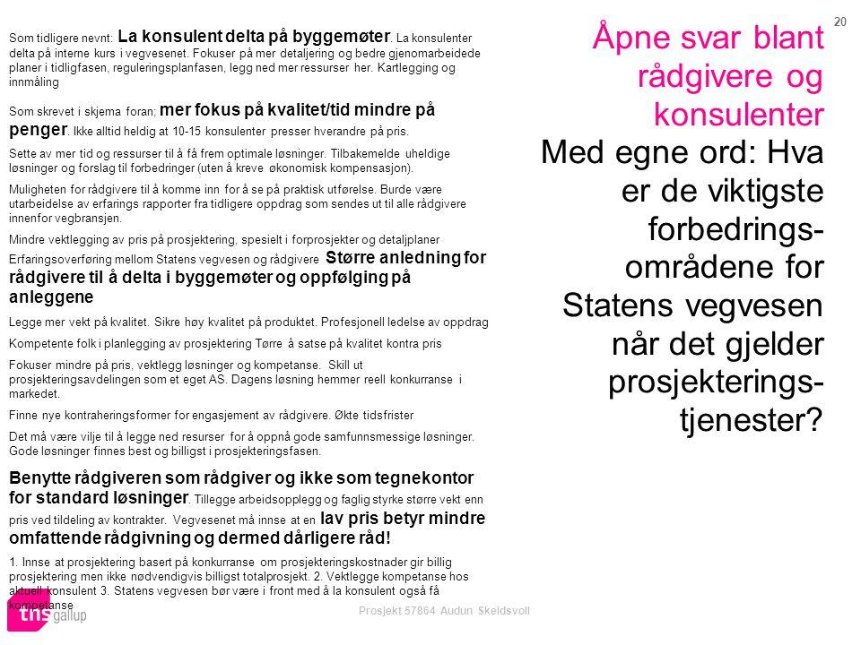 20 Prosjekt 57864 Audun Skeidsvoll Åpne svar blant rådgivere og konsulenter Med egne ord: Hva er de viktigste forbedrings- områdene for Statens vegves