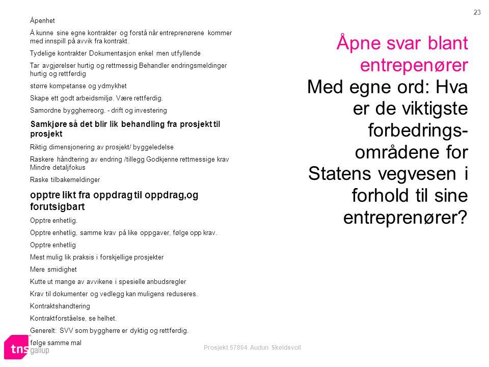 23 Prosjekt 57864 Audun Skeidsvoll Åpne svar blant entrepenører Med egne ord: Hva er de viktigste forbedrings- områdene for Statens vegvesen i forhold til sine entreprenører.