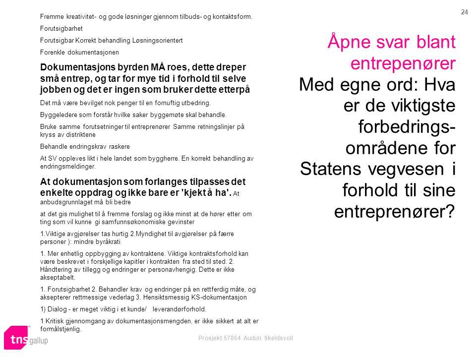 24 Prosjekt 57864 Audun Skeidsvoll Åpne svar blant entrepenører Med egne ord: Hva er de viktigste forbedrings- områdene for Statens vegvesen i forhold til sine entreprenører.