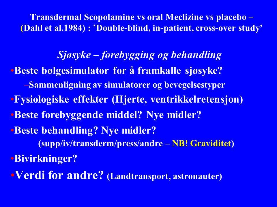 Transdermal Scopolamine vs oral Meclizine vs placebo – (Dahl et al.1984) : 'Double-blind, in-patient, cross-over study' Sjøsyke – forebygging og behan