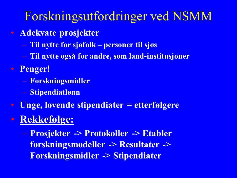 Forskningsutfordringer ved NSMM •Adekvate prosjekter –Til nytte for sjøfolk – personer til sjøs –Til nytte også for andre, som land-institusjoner •Pen