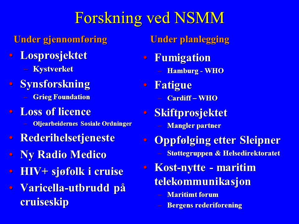 Forskning ved NSMM Under gjennomføring •Losprosjektet –Kystverket •Synsforskning –Grieg Foundation •Loss of licence –Oljearbeidernes Sosiale Ordninger