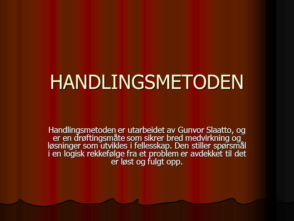 HANDLINGSMETODEN Handlingsmetoden er utarbeidet av Gunvor Slaatto, og er en drøftingsmåte som sikrer bred medvirkning og løsninger som utvikles i fell