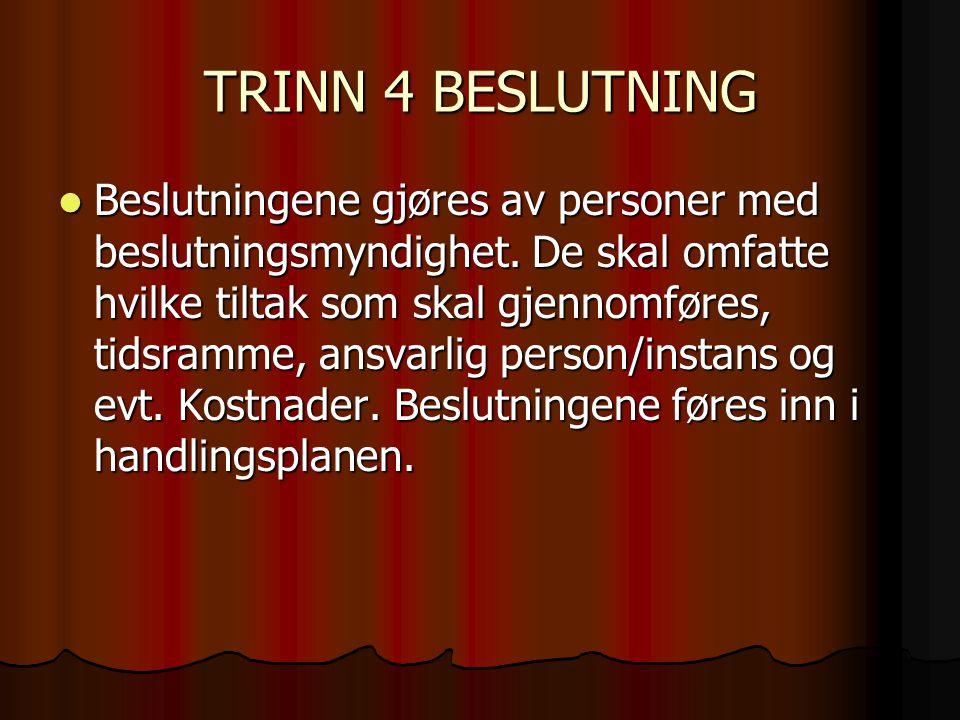TRINN 4 BESLUTNING  Beslutningene gjøres av personer med beslutningsmyndighet. De skal omfatte hvilke tiltak som skal gjennomføres, tidsramme, ansvar