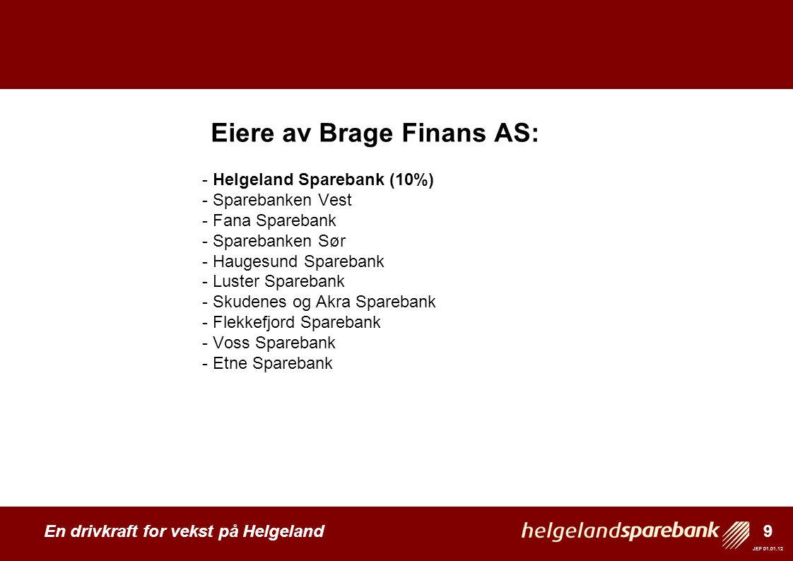 9 En drivkraft for vekst på Helgeland JEF 01.01.12 Eiere av Brage Finans AS: - Helgeland Sparebank (10%) - Sparebanken Vest - Fana Sparebank - Spareba