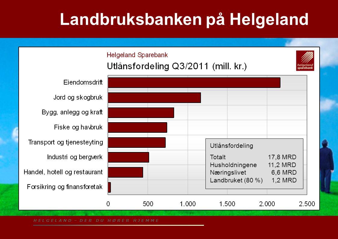 H E L G E L A N D – D E R D U H Ø R E R H J E M M E Helgeland – utlånsfordelingen i næringslivet Utlånsfordeling Totalt17,8 MRD Husholdningene11,2 MRD Næringslivet 6,6 MRD Landbruket (80 %) 1,2 MRD Landbruksbanken på Helgeland